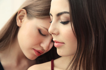 Lovely lesbian couple together, closeup