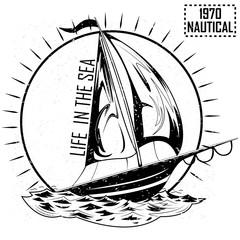 Vintage retro Nautical Voyager Sailboat label design