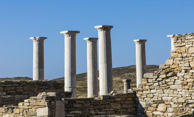 Ancient greek columns in delos, Mykonos