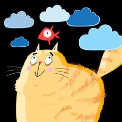 Vector portrait of a orange fat cat and fish