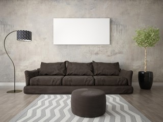 Mock up a modern living room with a brown sofa and a stylish lamp.