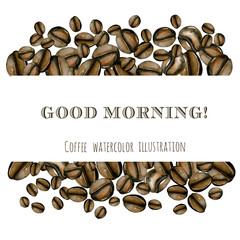 Frame from watercolor coffee beans, hand drawn on a white background