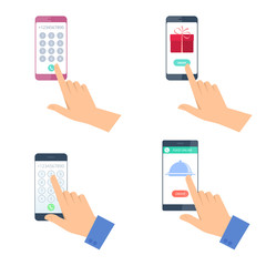 Hands hold the mobile phones. A man dials number on the smartphone. A woman ordering a food and gift by smart phone. Modern technology, cell phone apps flat concept illustration. Vector design element