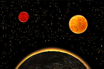 Exoplanets or extrasolar planets.  illustration. Universe filled with stars.