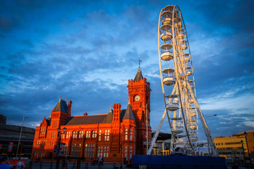 Cardiff Bay at sunset with Ferris Wheel
