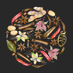 Circle illustration of watercolor spices (cinnamon, anise, caraway, cardamom, basil, red pepper, ginger, vanilla and cloves), hand drawn isolated on a dark background
