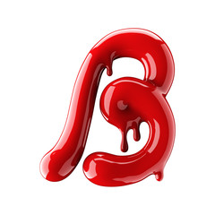 Leaky red alphabet isolated on white background. Handwritten cursive letter B.