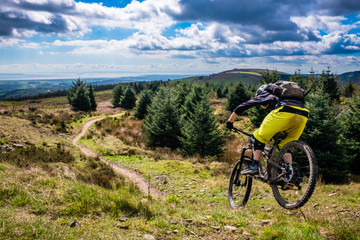Mountain Biking in Wales - rider speeds down steep flowing trail with river Severn in the background. Cwmcarn, Wales. Wall mural