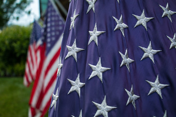Close up view of the stars of the USA flag