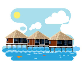 Simple drawing of wooden bungalow on the water.
