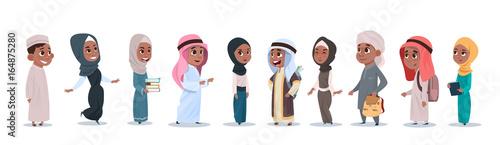 arab children girls and boys group small cartoon pupils collection