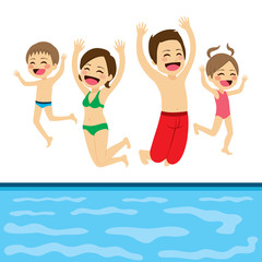 Family jumping happy to swimming pool water on summer vacation