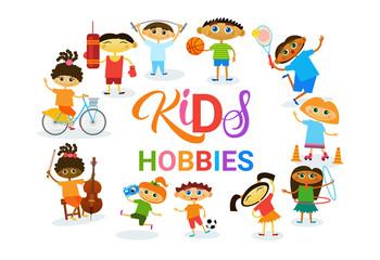 KIds Hobbies Art Classes Logo Workshop Creative Artistic School For Children Development Banner Flat Vector Illustration