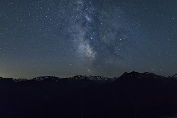 milky way over large mountain range