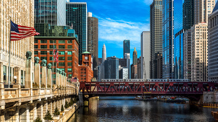 Photo sur Plexiglas Chicago Chicago viewed from the Franklin Street bridge