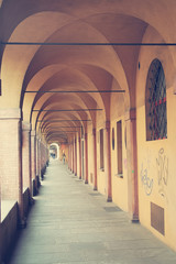 Ancient porticos in Bologna in Italy
