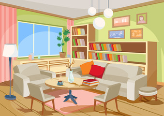 Vector illustration of a cozy cartoon interior of a home room, a living room with a sofa, armchairs, coffee table, chest of drawers, book shelf and window curtains