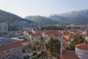 Panoramic view of the old and new parts of Budva