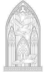 Page with black and white drawing of beautiful medieval Gothic window with stained glass and seagulls for coloring. Worksheet for children and adults. Vector image.
