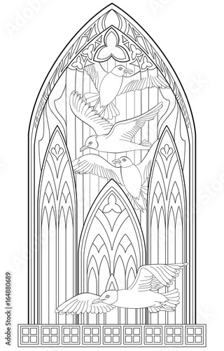 Page With Black And White Drawing Of Beautiful Medieval Gothic Window Stained Glass Seagulls