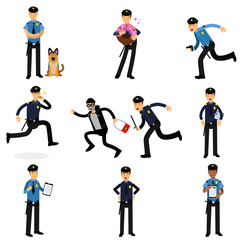 Policeman characters doing their job set, policemen at work vector Illustrations