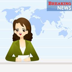 News announcer telling news in studio - vector illustration
