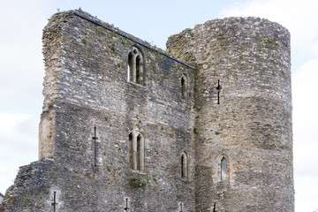 Ferns Castle, County Wexford, Ireland, an Anglo-Norman fortress, built in the middle of the 13th century by William, Earl Marshall. Today about half of the castle still stands.