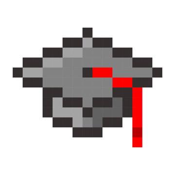 Graduation cap pixel art cartoon retro game style