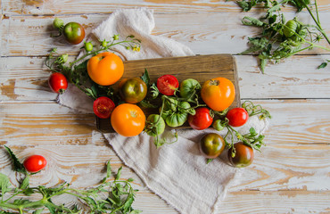 Composition of colorful ripe summer tomatoes. Flatlay. White vintage wooden background