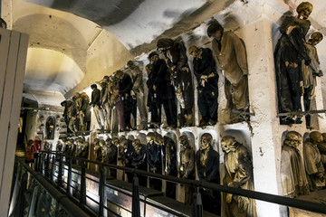 Burial in the catacombs of the Capuchins in Palermo . Sicily