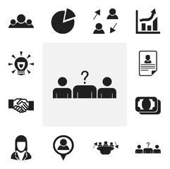 Set Of 12 Editable Trade Icons. Includes Symbols Such As Publish, Meeting, Statistics And More. Can Be Used For Web, Mobile, UI And Infographic Design.