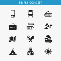 Set Of 12 Editable Trip Icons. Includes Symbols Such As Steam Engine, Stool, Snapshot And More. Can Be Used For Web, Mobile, UI And Infographic Design.
