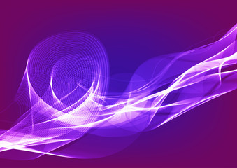 Wavy shiny ribbons on a purple background