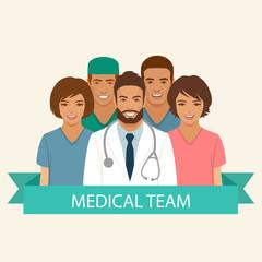 medical team, doctor nurse and surgeon staff, hospital health  profession people group, vector flat illustration