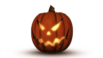 Scary Jack O Lantern halloween pumpkin, 3d illustration