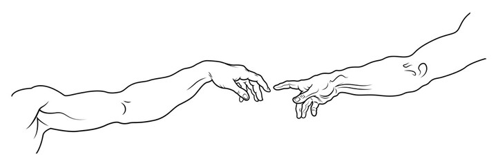 The Creation of Adam. The hand of Man and The hand of God. A section of Michelangelo's fresco Sistine Chapel ceiling painted c.1511. (Long full fragment: detailed vector outline drawing).