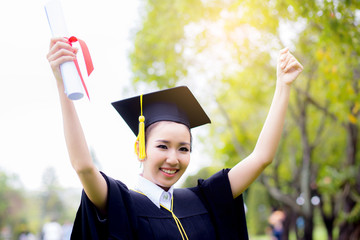successful graduating student with nature background, Happy graduated student girl, congratulations, concept education