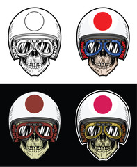 Biker Skull Wearing Goggles and Grunge Japan Flag Helmet, Hand Drawing Skull, Hand Drawing With 4 variation Color, line out, shadow, highlight