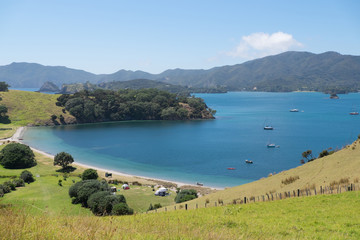 Fotobehang Nieuw Zeeland View of camping tents and boats from Urupukapuka Island in Bay of Islands, New Zealand, NZ