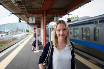 blonde girl  in Kashima railway station