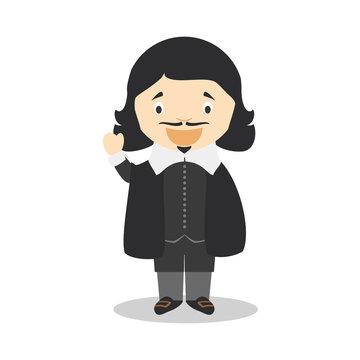 Rene Descartes cartoon character. Vector Illustration. Kids History Collection.
