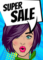 Super sale. Pop art sexy woman advertise vintage poster. Comic book text balloon speech bubble. Discount banner vector retro illustration. Girl comic wow face surprised marketing special offer.