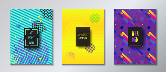 Brochure covers Set. Pop Art abstract backgrounds. Modern Design for Gallery Exhibition catalog cover, business brochure, poster, flyer, wallpaper, banner template. Vector Geometric dynamic pattern.