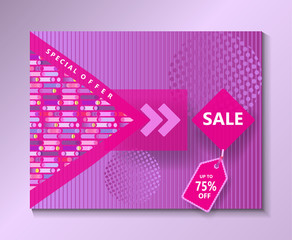 Brochure cover, Sale special offer - Magenta color collection. Modern Fashion Design catalog cover, business brochure, poster, banner, business card, envelope template. Vector