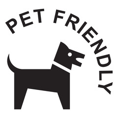 Pet friendly sign, black isolated on white background, vector illustration.