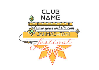 Krishna Janmashtami festival. Invitation to a party. Annual Hindu festival. Celebration of the birth of Krishna. Vector illustration