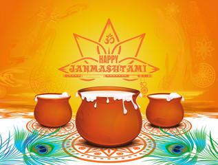 Colorful festive background for Krishna Janmashtami. Happy Janmashtami. Traditional festive symbols of the Hindu festival. Pots of yoghurt, peacock feathers and bansuri. Vector illustration