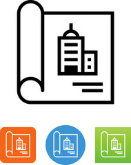 Blueprint With Commercial Building Icon - Illustration