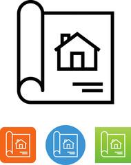 Blueprint With House Icon - Illustration