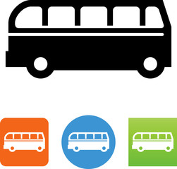 Bus Detailed Side View Icon - Illustration